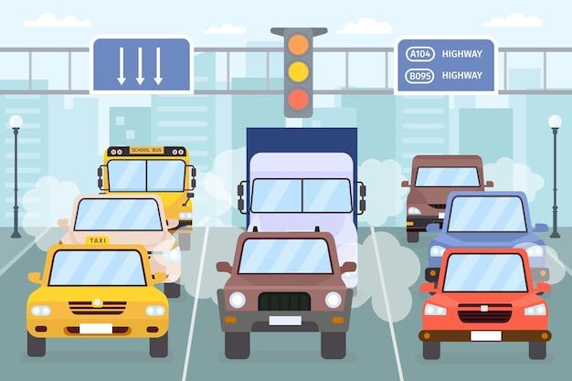 Korek uliczny. samochody na drogach miejskich dymią, smogiem i spalinami. autostrada miejska pojazdów, taksówek, ciężarówek i autobusów. koncepcja wektor zanieczyszczenia powietrza. ilustracja ruchu ulicznego, podróży po mieście, zatorów samochodowych