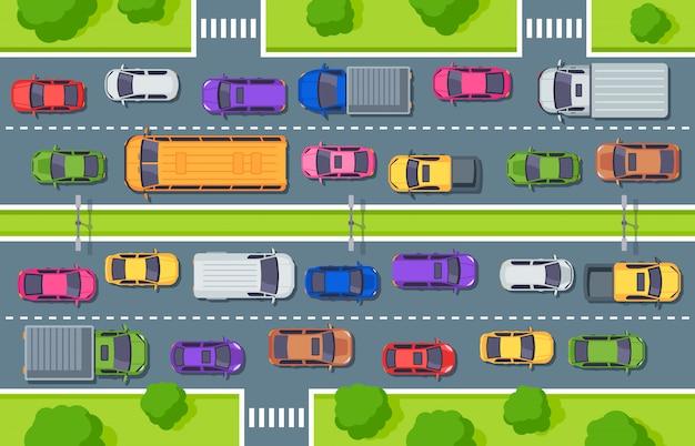 Korek uliczny. widok z góry autostrady, samochody ciężarowe na drodze i ilustracja kontroli ruchu samochodów