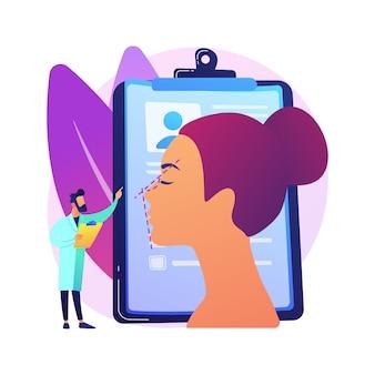 Korekcja nosa streszczenie ilustracja koncepcja. zabieg korekcji nosa, niechirurgiczna plastyka nosa, zmiany kształtu nosa, problemy z oddychaniem, ryzyko zmiany estetyki