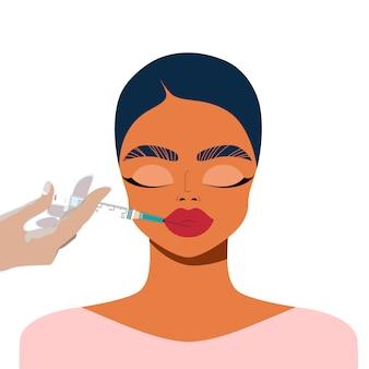 Korekta ust z wypełniaczem. kobiece twarzy i dłoni trzymając strzykawkę. przemysł kosmetyczny i koncepcja wtrysku. zastrzyki z warg procedura korekcji twarzy. wypełniacze do ust.