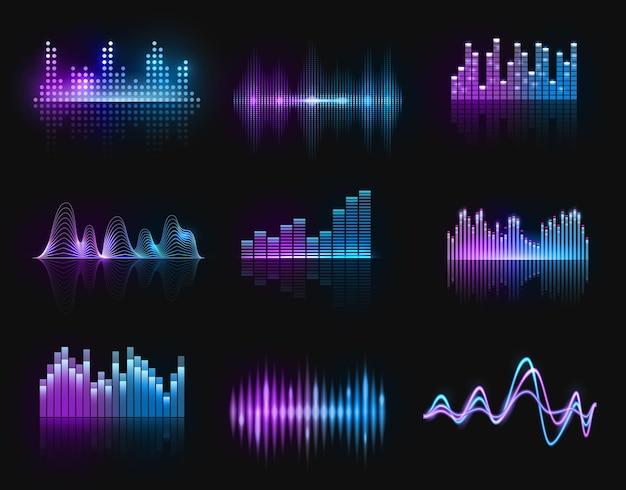 Korektory muzyczne, fale dźwiękowe lub radiowe, linie neonów o częstotliwości dźwięku. odtwarzacz cyfrowy wyświetla przebieg, technologia hud dla paska strojenia, sygnał rejestratora fal dźwiękowych. zestaw na białym tle puls studio piosenki