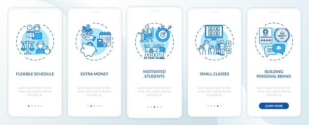 Korepetycje online przynoszą korzyści dzięki wprowadzeniu ekranu strony aplikacji mobilnej z koncepcjami. dodatkowe wskazówki dotyczące zarabiania pieniędzy 5 kroków instrukcji graficznych. szablon ui z kolorowymi ilustracjami rgb