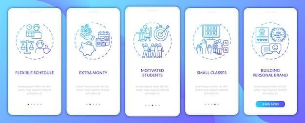 Korepetycje online przynoszą korzyści dzięki wprowadzeniu ekranu strony aplikacji mobilnej z koncepcjami. małe klasy w szkole. 5 kroków. szablon ui z kolorem rgb