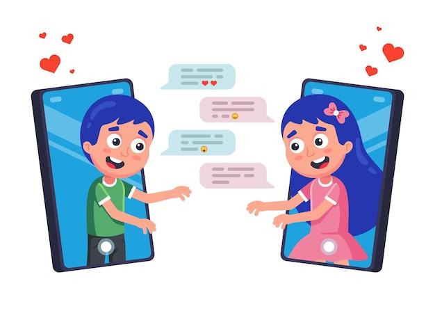 Korespondencja zakochanych korzystająca z komunikatora do płaskiej ilustracji walentynkowej