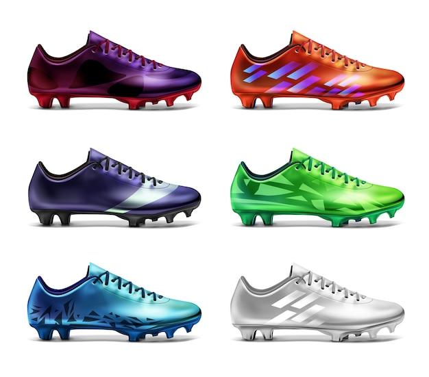 Korki piłkarskie z nadrukiem w różnych kolorach: białym, zielonym, czerwonym, niebieskim, fioletowym i fioletowym. sześć butów piłkarskich na białym tle