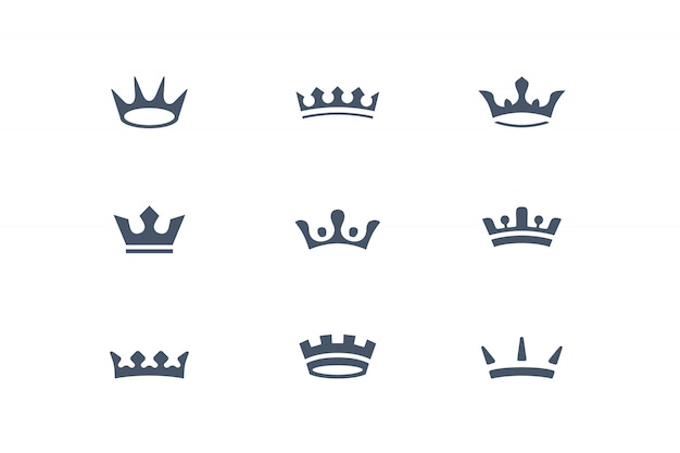 Korona. kolekcja koron królewskich, ikon i elementów projektu, grafika.