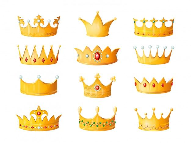 Korona kreskówka. złoty cesarz książę królowa królewskie korony diamentowa koronacja złota antyczna tiara koronująca cesarskie klejnoty koronowe na białym tle zestaw ilustracji