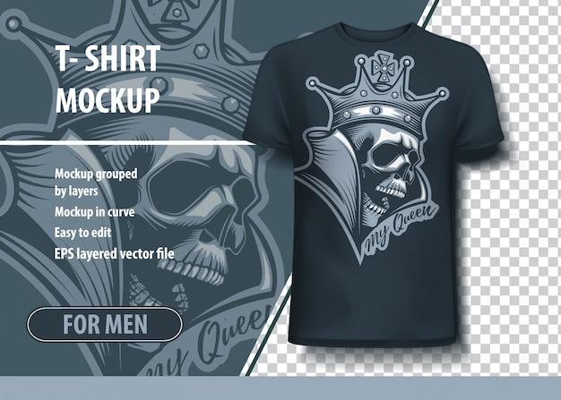 Korona na szablonie t-shirt czaszki