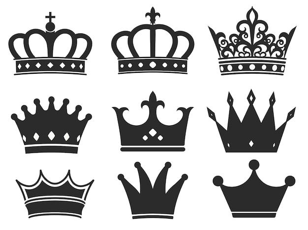 Korona sylwetka ikona ilustracja kolekcja