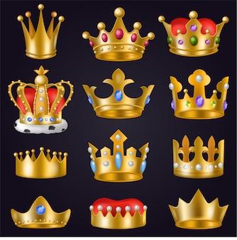 Korona wektor złoty królewski biżuteria symbol króla królowej i księżniczki ilustracja znak koronacji książęcej władzy i klejnotów korony zestaw na białym tle