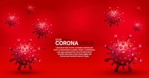 Korona wirus. ilustracja do kampanii, plakat, baner, tło z czerwonym tłem