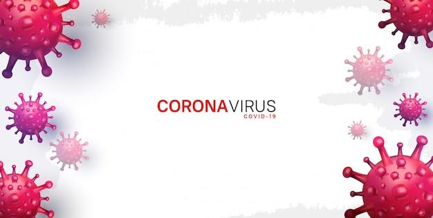 Korona wirus. ilustracja do kampanii, plakat, baner, tło z czerwonym wirusem