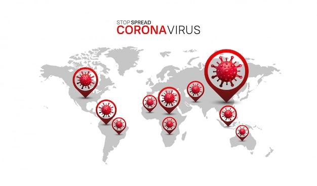 Korona wirus. ilustracyjna mapa świata i lokalizacja wirusów