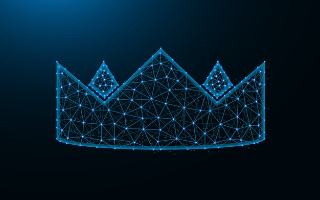 Korona wykonana z punktów i linii na ciemnoniebieskim tle, królewska siatka szkieletowa wielokąta