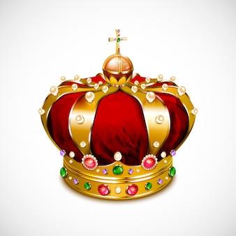Korona ze złotymi detalami i kryształkami