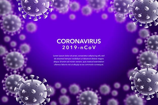 Koronawirus 2019-ncov i fioletowe tło wirusa z komórkami choroby wywoływanej przez wirusa koronowego