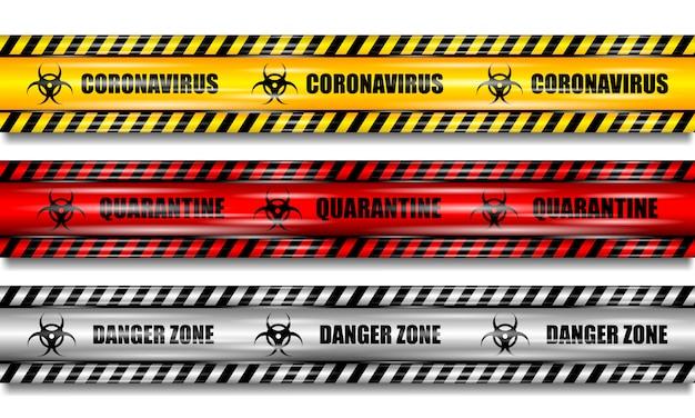 Koronawirus (2019-ncov), realistyczne bezszwowe żółte, czerwone i białe taśmy bezpieczeństwa na na białym tle, ustawić taśmy koronawirusa, realistyczna ilustracja