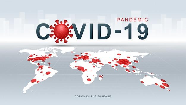 Koronawirus (covid-19. choroba koronawirusowa pandemia na mapie. tło wirusa covid-19. atak wirusów na ziemię. ilustracja.