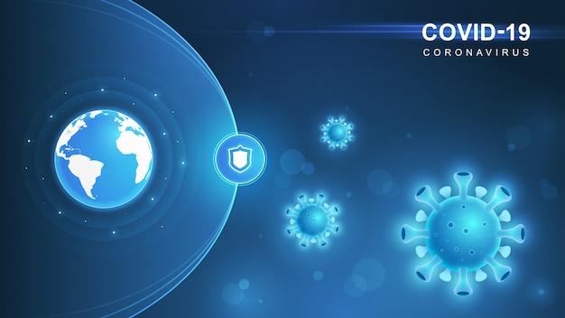 Koronawirus (covid-19. epidemia koronawirusa i tło grypy koronawirusów. covid19 wirus. atak wirusów na ziemię. ilustracja.
