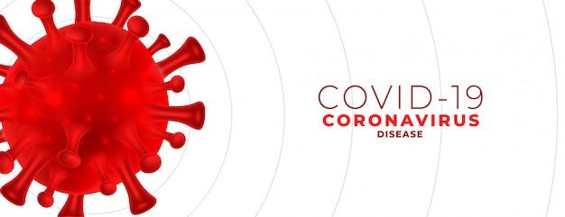 Koronawirus covid-19 z czerwoną komórką z miejscem na tekst
