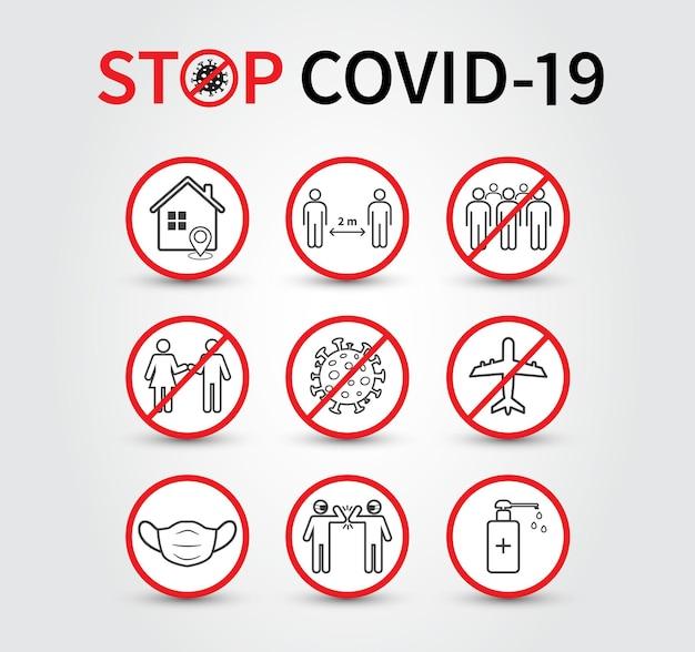 Koronawirus covid19 koncepcja zapobiegania dystans społeczny zostań w domu unikaj