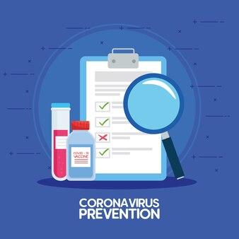 Koronawirus do badań nad szczepionkami medycznymi, lista kontrolna i materiały do badań nad szczepionkami medycznymi i mikrobiologia edukacyjna dla ilustracji koronawirusa covid19