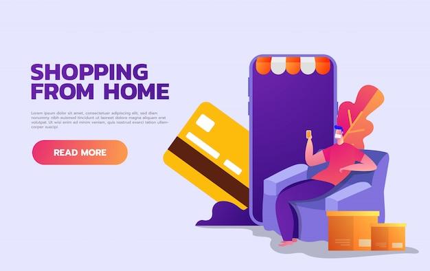 Koronawirus na zewnątrz. zakupy online. zostań w domu. okaleczający mężczyzna z twarzy maską pracuje na laptopie w domu. kwarantanna. płaska ilustracja.