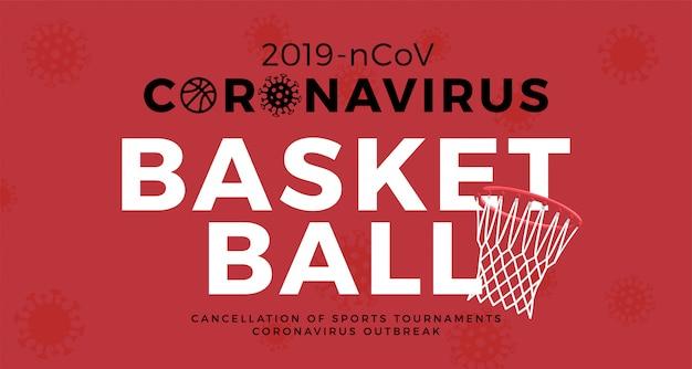 Koronawirus ostrożnie banner koszykówki. zatrzymaj wybuch epidemii 2019-ncov. niebezpieczeństwo koronawirusa i zagrożenie zdrowia publicznego powodują choroby i wybuch grypy. anulowanie koncepcji wydarzeń sportowych i meczów