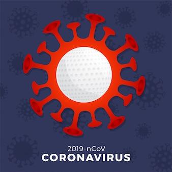 Koronawirus ostrożnie znak golfa. zatrzymaj wybuch covid-19. niebezpieczeństwo koronawirusa i zagrożenie zdrowia publicznego powodują choroby i wybuch grypy. anulowanie koncepcji wydarzeń sportowych i meczów