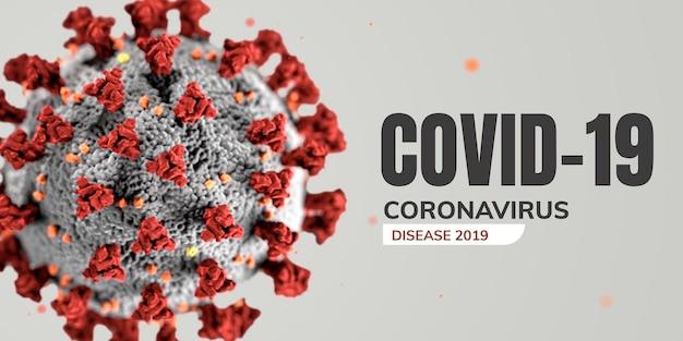 Koronawirus pod mikroskopem wektor banner