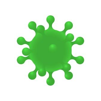 Koronawirus realistyczny d zielony wirus komórkowy korona wirusa symbol wirusa covid ncp