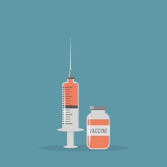 Koronawirus szczepionka. wstrzyknięcie butelki i strzykawki ze szczepionką do szczepienia.