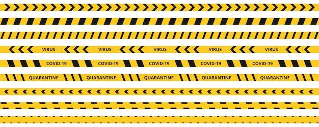 Koronawirus taśmy kwarantanny. ostrzegawczy koronawirus poddaje kwarantannie żółte i czarne paski.