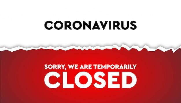 Koronawirus tymczasowo zamknięty szablon odcięcia papieru.