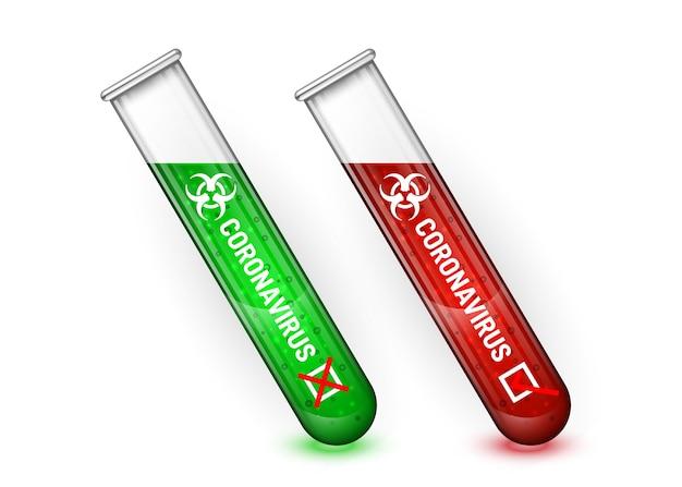 Koronawirus wybuch. ilustracja zielone i czerwone rurki.