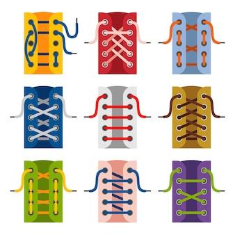 Koronki buty ikony na białym tle. schematy wiązania sznurówek. sznurowanie