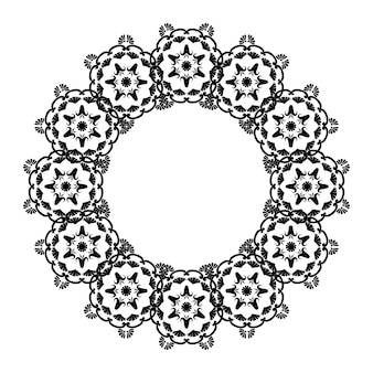 Koronkowa okrągła ramka koło mandale z miejscem na tekst czarno-biała arabeska do dekoracji