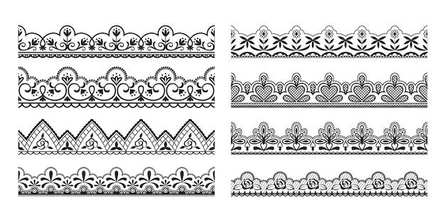 Koronkowe obramowania. bezszwowe vintage ozdobne wstążki z ozdobnymi i kwiatowymi elementami, wzór czarnej taśmy tkaniny.