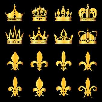 Korony w kolorze złotym czarnym