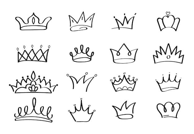 Korony wektor zestaw w stylu doodle