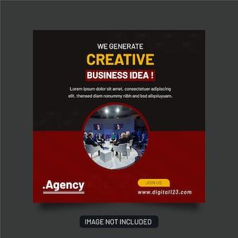 Korporacyjna agencja biznesowa i ulotka square instagram social media post banner