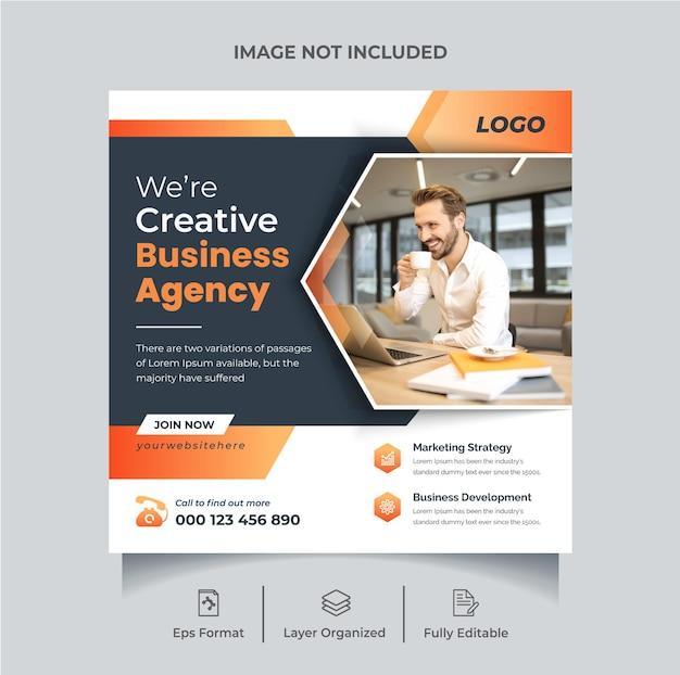 Korporacyjna agencja marketingowa w mediach społecznościowych szablon postu lub edytowalny baner internetowy
