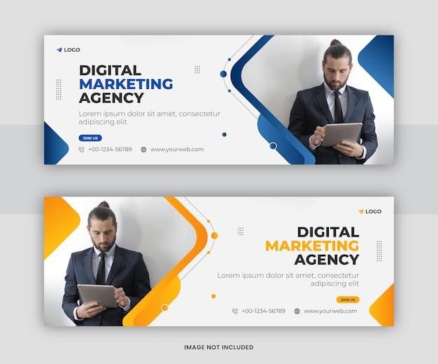 Korporacyjna i cyfrowa promocja marketingu biznesowego projekt szablonu okładki na facebooku