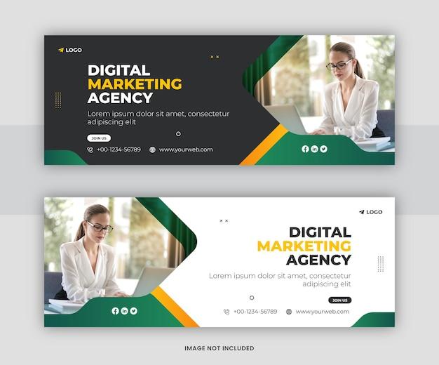 Korporacyjna i cyfrowa promocja marketingu biznesowego projekt szablonu okładki na osi czasu na facebooku