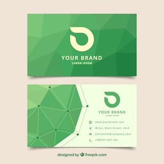 Korporacyjna karta z zielonymi wielokątami