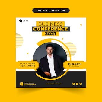 Korporacyjna konferencja biznesowa szablon postu w mediach społecznościowych