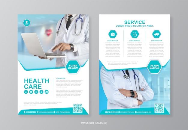 Korporacyjna opieka zdrowotna i medyczna okładka oraz szablon projektu ulotki a4 tylnej strony do druku