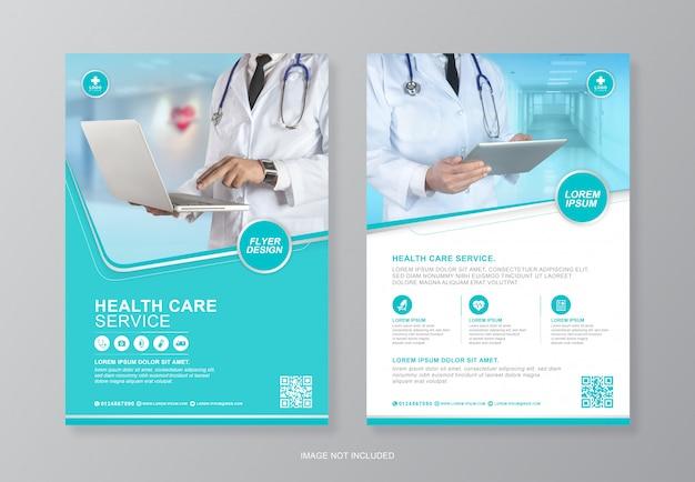 Korporacyjna opieka zdrowotna i medyczna pokrywa szablon projektu ulotki a4