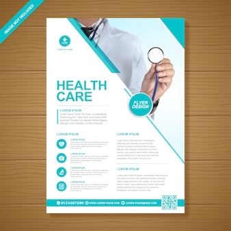 Korporacyjna opieka zdrowotna i medyczna pokrywa szablon ulotki a4