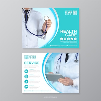 Korporacyjna opieka zdrowotna i opieka medyczna, szablon projektu ulotki a4 na tylnej stronie i płaskie ikony